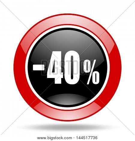 40 percent sale retail round glossy red and black web icon