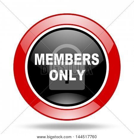 members only round glossy red and black web icon