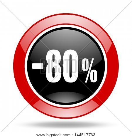 80 percent sale retail round glossy red and black web icon