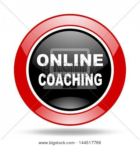 online coaching round glossy red and black web icon
