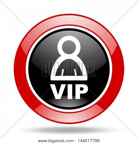 vip round glossy red and black web icon