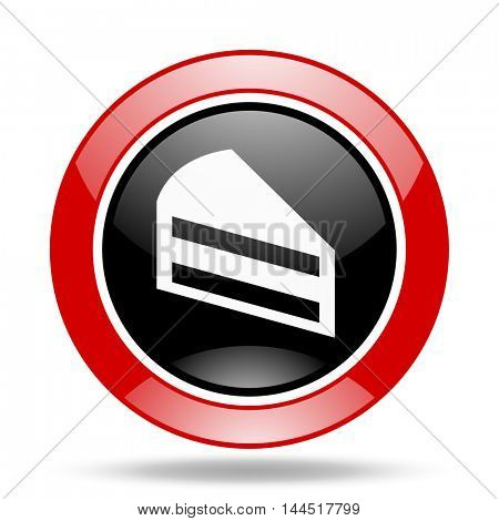 cake round glossy red and black web icon