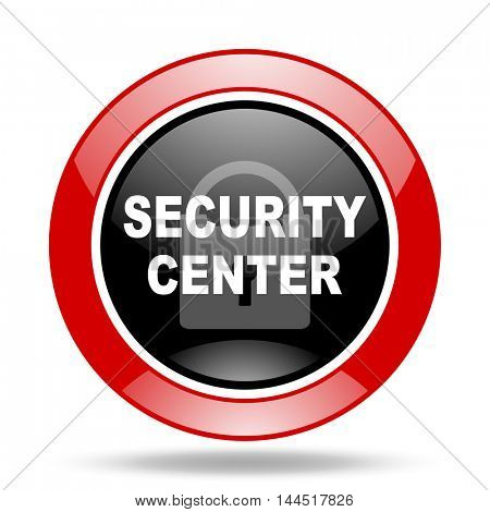 security center round glossy red and black web icon