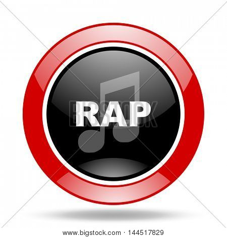 rap music round glossy red and black web icon