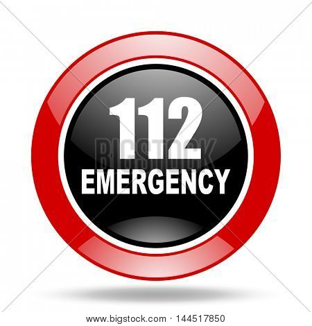 number emergency 112 round glossy red and black web icon