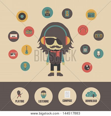 hipster listening concept in retro style pastel