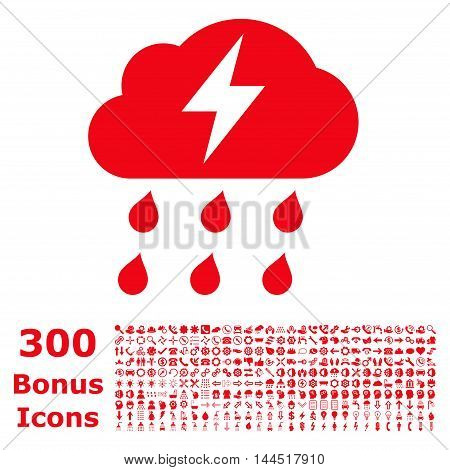 Thunderstorm icon with 300 bonus icons. Vector illustration style is flat iconic symbols, red color, white background.