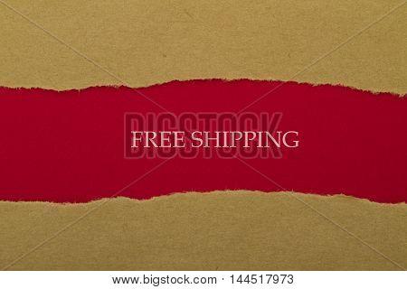 Free Shipping written under torn paper .