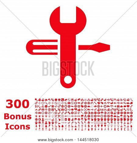 Tuning icon with 300 bonus icons. Vector illustration style is flat iconic symbols, red color, white background.