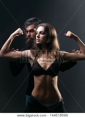 Sexy Sporty Couple In Studio