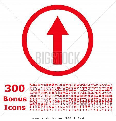 Up Rounded Arrow icon with 300 bonus icons. Vector illustration style is flat iconic symbols, red color, white background.