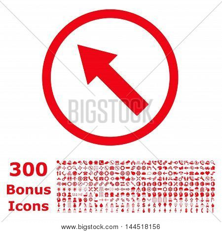 Up-Left Rounded Arrow icon with 300 bonus icons. Vector illustration style is flat iconic symbols, red color, white background.