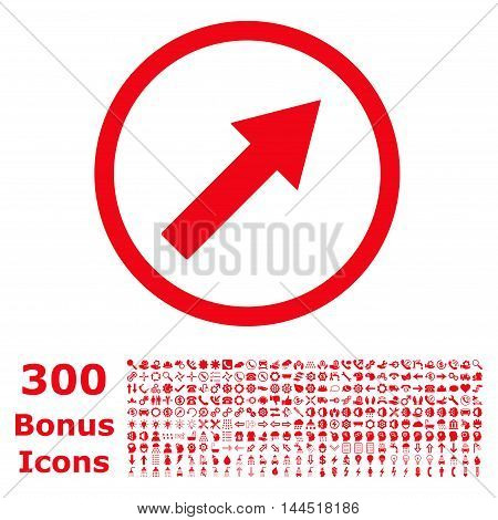 Up-Right Rounded Arrow icon with 300 bonus icons. Vector illustration style is flat iconic symbols, red color, white background.