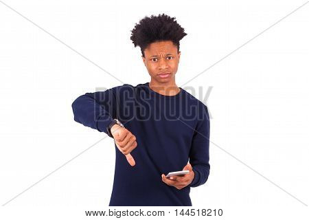 Young African American Man Holding A Smartphonemaking Thumbs Down Gesture - Black Teenager People