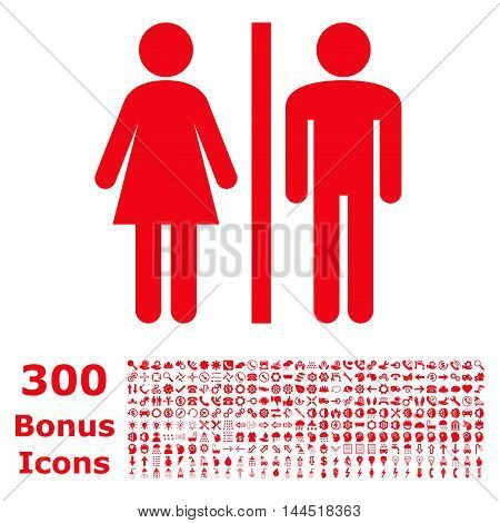 WC Persons icon with 300 bonus icons. Vector illustration style is flat iconic symbols, red color, white background.