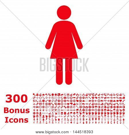 Woman icon with 300 bonus icons. Vector illustration style is flat iconic symbols, red color, white background.