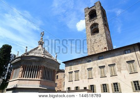Old City Tower Torre Civica And Church Bergamo Cathedral Baptistery In Citta Alta, Italy