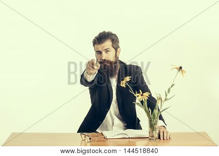 Bearded Man Professor Glasses At Table