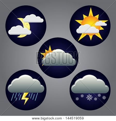 Vector weather icons: clear, rain, snow, cloudy