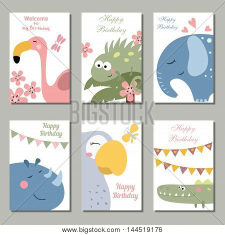 Set of beautiful birthday invitation cards decorated with wild animals on white background.