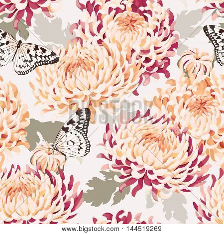Japanese chrysanthemum and butterfly vector seamless background