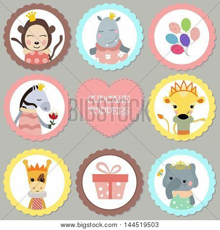 Cupcake toppers for Birthday. Collection of animals dressed as princess. Princess theme.