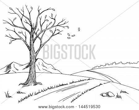 Old tree autumn graphic art black white landscape sketch illustration vector