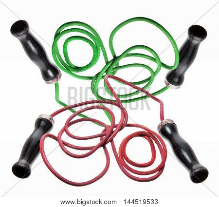 Two Set of Skipping Ropes on White Background