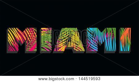 Miami lettering with colorful palm leaves