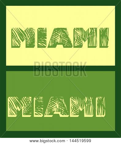 Miami lettering with palm leaves