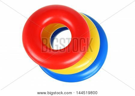 Toy Plastic Stacking Rings on White Background