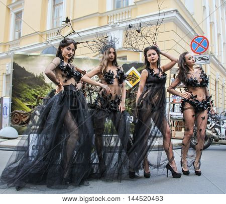 St. Petersburg, Russia - 12 August, Girls in transparent dress,12 August, 2016. Beauty contest