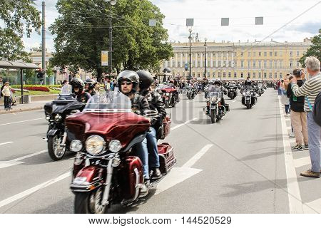 St. Petersburg, Russia - 13 August, Parade of Harley Davidson in St. Petersburg,13 August, 2016. The annual parade of Harley Davidson in the squares and streets of St. Petersburg.