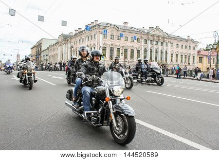 St. Petersburg, Russia - 13 August, Bikers traveling on the Green Bridge over the Moika River,13 August, 2016. The annual parade of Harley Davidson in the squares and streets of St. Petersburg.