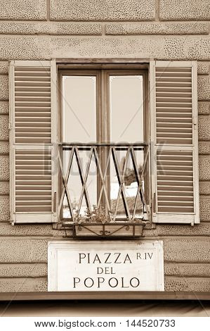 Piazza Del Popolo street sign in Rome, Italy