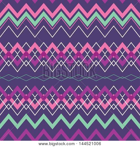Tribal Boho Seamless Pattern with Rhombus. Ethnic Geometric Ornament. Boho Pattern. Fabric, Wallpaper and Wrapping Texture.