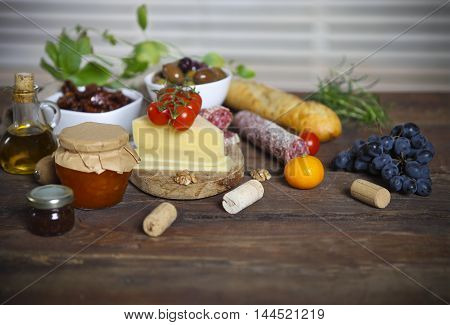 Italian food ingredients on the wooden table