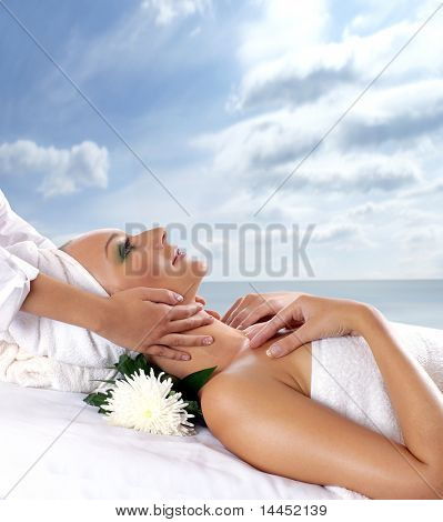 Spa treatment over abstract natural background