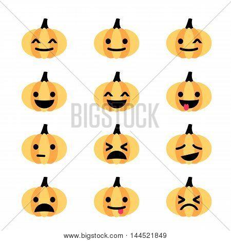 Flat minimalistic funny emoji pumpkin icon set