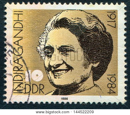 GERMANY - CIRCA 1986: A stamp printed in showing the Prime Minister of India, Indira Priyadarshini Gandhi, circa 1986