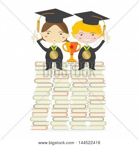 Children Wearing Graduation Suit Sitting With Golden Trophy On Huge Books Stacks Represent To Success Education Vector Illustration. EPS 10