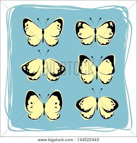 Set butterflies for decoration postcards. The original pattern of butterflies.