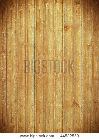 Background of brown old natural wood planks Dark aged empty rural room with tree floor pattern texture. Closeup gold view surface of retro pine red logs inside vintage light warm interior with shadows