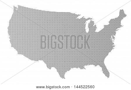 A halftone silhouette map of The United States of America over a white background