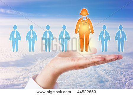 The only one female candidate in an otherwise all male lineup of white collar professionals is standing out in an open palm of hand high above a dense cloudscape on a sunny morning. Business concept.