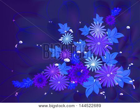 Flowers on deep blue background with dew and stars. EPS10 vector illustration.