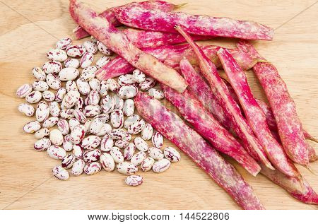 Borlotti beans a collection of colourful borlottie beans in and out of their pods