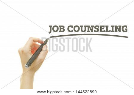 Woman hand writing Job Counseling on a transparent wipe board.