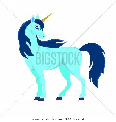 Beautiful cartoon the Unicorn character, isolated on white background