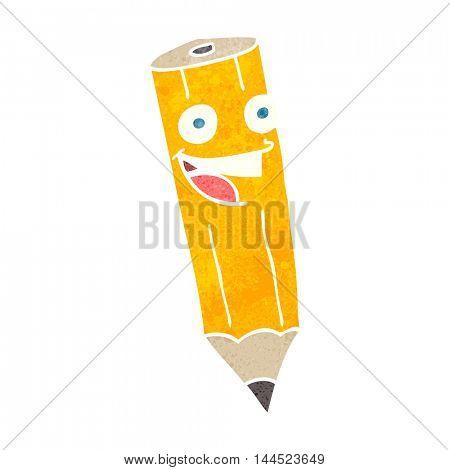 happy freehand retro cartoon pencil